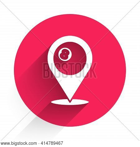 White Map Pointer With Billiard Pool Snooker Ball With Number 8 Icon Isolated With Long Shadow. Red
