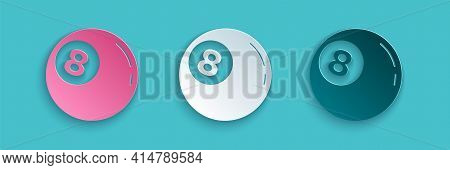 Paper Cut Billiard Pool Snooker Ball With Number 8 Icon Isolated On Blue Background. Paper Art Style