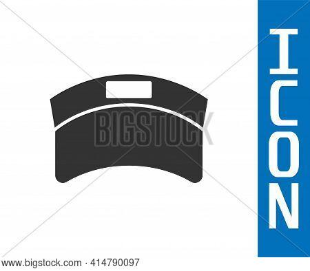 Grey Sun Visor Cap Icon Isolated On White Background. Sport Equipment. Sports Uniform. Vector