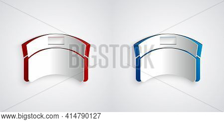 Paper Cut Sun Visor Cap Icon Isolated On Grey Background. Sport Equipment. Sports Uniform. Paper Art