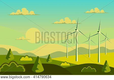 Wind Energy Turbines In Field Landscape Background In Flat Cartoon Style. Green Energy Concept, Alte