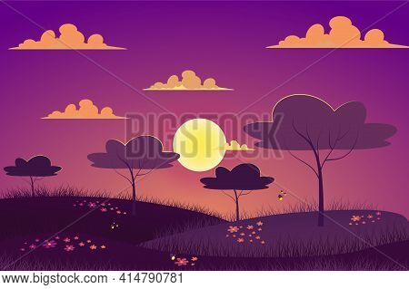 Sunset At Spring Meadow Landscape Background In Flat Cartoon Style. Evening At Garden, Trees, Grass