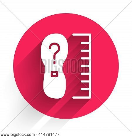 White Square Measure Foot Size Icon Isolated With Long Shadow. Shoe Size, Bare Foot Measuring. Red C