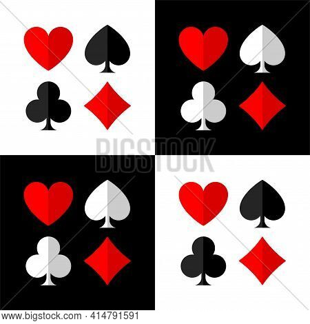Poker Background With Card Suits: Clubs, Hearts, Diamonds, Spades. Square Chess Background With Card