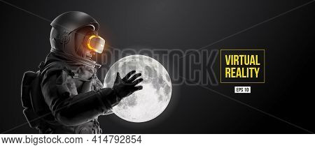 Vr Headset With Neon Light, Future Technology Concept Banner. Astronaut With Virtual Reality Glasses