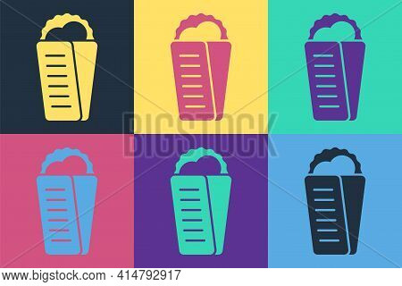 Pop Art Gyros Pita Greek Fast Food Traditional Cuisine Icon Isolated On Color Background. Gyro With
