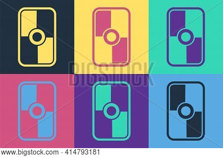 Pop Art Greek Shield With Greek Ornament Icon Isolated On Color Background. Vector