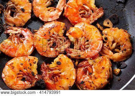 Grilled Langoustines Close-up, Saturated Pink Orange Color, Garlic Oil