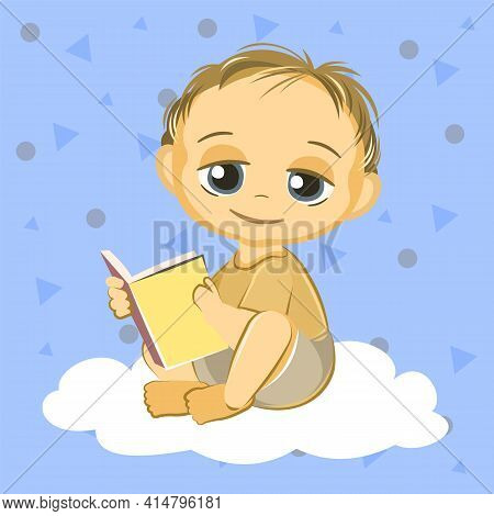 Little Child. Boy. Sits Playing Indulges. Cheerful Kind Funny. Cartoons Flat Style. Preschool Age. C