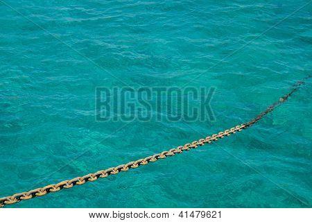 Anchor Chain Against On The Sea