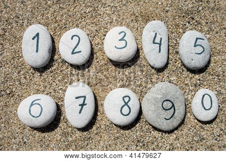 Stones With Sand Background