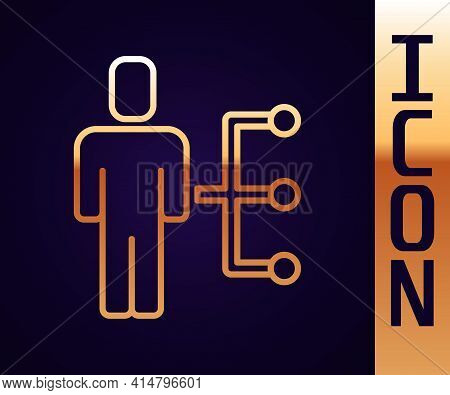 Gold Line User Of Man In Business Suit Icon Isolated On Black Background. Business Avatar Symbol Use