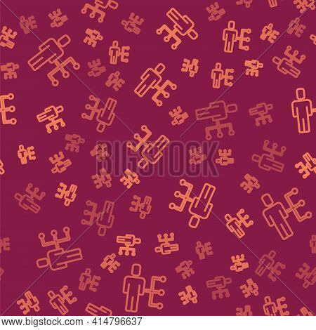 Brown Line User Of Man In Business Suit Icon Isolated Seamless Pattern On Red Background. Business A