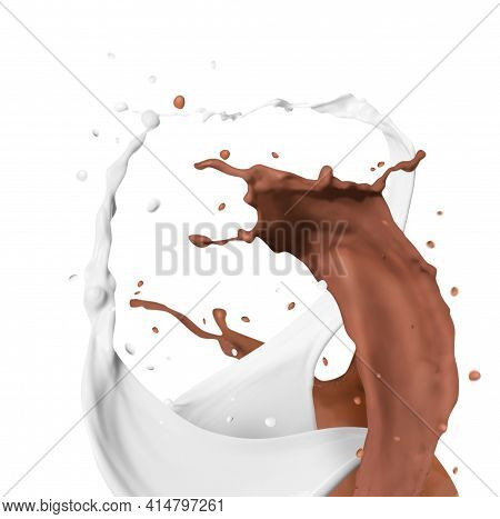 Splashes Of Chocolate Milk And Ordinary One Mixing Together On White Background