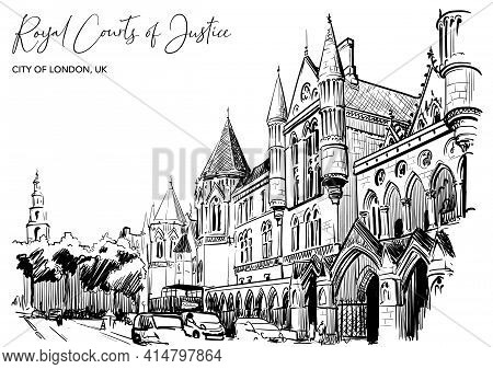 The Royal Courts Of Justice A Main Court For England And Wales. Black Line Sketch Isolated On White