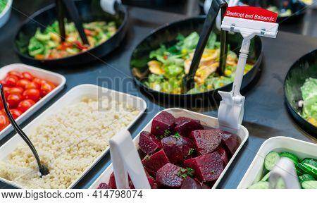 Salad Bar Buffet At Restaurant. Fresh Salad Bar Buffet For Lunch Or Dinner. Healthy Food. Beetroot A
