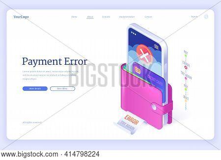 Payment Error Banner. Warning Alert Of Bad Transaction, Failed Or Declined Money Transfer. Vector La
