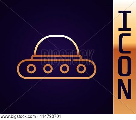 Gold Line Ufo Flying Spaceship Icon Isolated On Black Background. Flying Saucer. Alien Space Ship. F