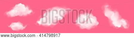 White Clouds In Sky At Morning Or Sunset Isolated On Pink Background. Vector Realistic Set Of Fluffy