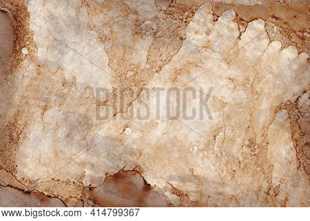 Dirty Abstract Old Stone Or Marble Texture. Abstract Brown And Ocher Illustration Alcohol Ink Techni