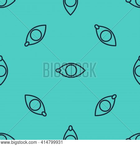 Black Line Blindness Icon Isolated Seamless Pattern On Green Background. Blind Sign. Vector