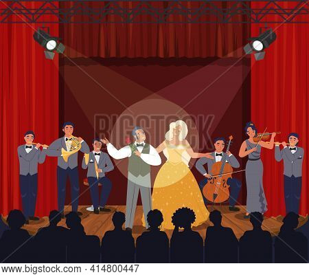 Opera Theater Scene With Red Curtains. Musicians And Actors Performing On Stage, Vector Illustration