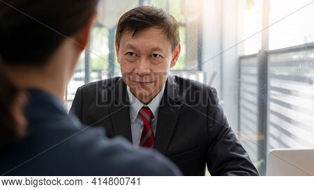 Mature Boss Senior Asian Businessman Leadership Working Together Colleagues Discuss Information Over