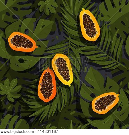 Tropical Seamless Pattern With Cut Papaya And Palm Leaves, Vector Pattern With Paradise Exotic Fruit