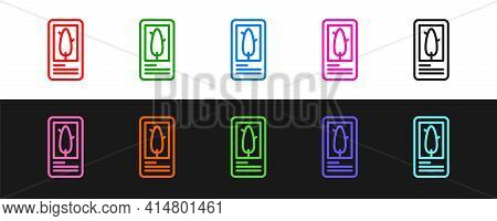 Set Line Tarot Cards Icon Isolated On Black And White Background. Magic Occult Set Of Tarot Cards. V