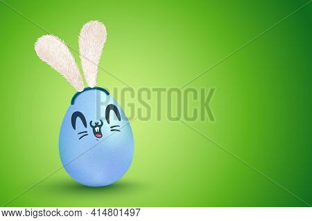 Vector Illustration Of Blue Egg With Kawaii Rabbit Face For Easter. Vector Cute Egg With Bunny Ears