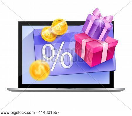 Customer Loyalty Program Vector Illustration, Gift Card Isolated Concept, Laptop Screen, Golden Coin