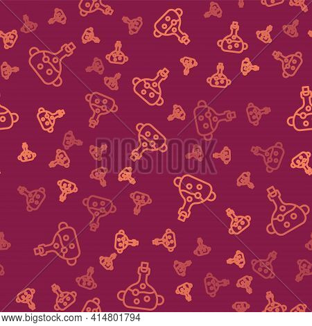 Brown Line Poison In Bottle Icon Isolated Seamless Pattern On Red Background. Bottle Of Poison Or Po