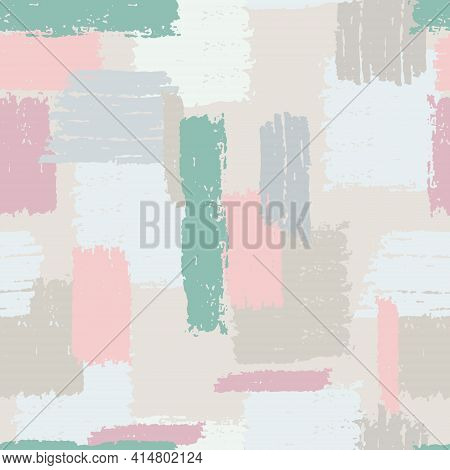 Seamless Repeating Pattern With Multicolored Vertical And Horizontal Paint Stripes. Brushstroke Effe