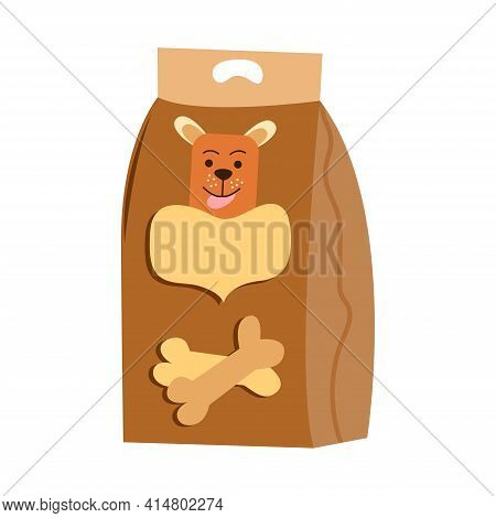 Dog Food Packaging. Pet Food. Pack With Dog And Bones. Animal Care Item Isolated On White Background