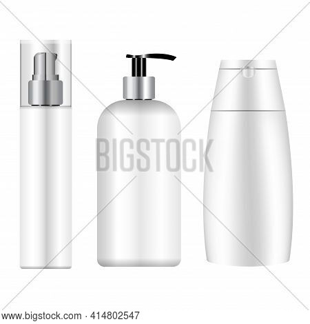 White Cosmetic Bottle Mockup. Cosmetic Product Package Blank. 3d Vector Template Of Cosmetic Packagi