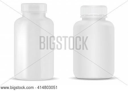 White Pill Bottle. Plastic Supplement Jar Blank. Prescription Drug Capsule Can. Medicament Cure Prod