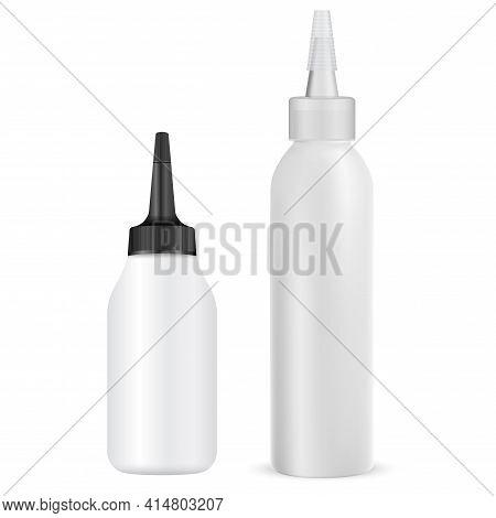 Hair Dye Tube, Vector Package Mock Up, Hair Colour Beauty Dropper, Isolated Sample Products. Hair Cr