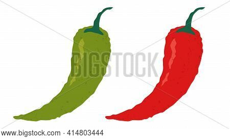 Vector Illustration Of Chilli Pepper. Vector Set Icons Of Red Chili Peppers.