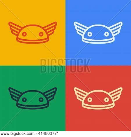 Pop Art Line Helmet With Wings Icon Isolated On Color Background. Greek God Hermes. Vector