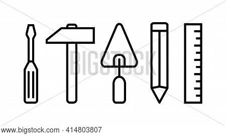 Simple Set Of Tools Screwdriver. Ruler, Hammer, Trowel, Trowel. Vector Line Icons Design