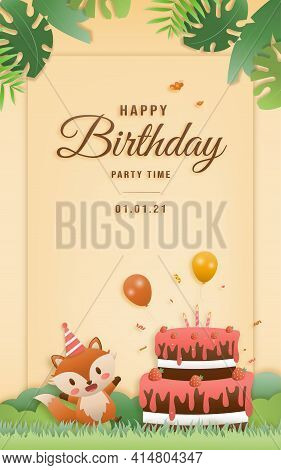 Cartoon Happy Birthday Fox Card With Cake. Greeting Cards With Cute Safari Or Jungle Animals Party I
