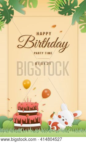 Cartoon Happy Birthday Rabbit Card With Cake. Greeting Cards With Cute Safari Or Jungle Animals Part