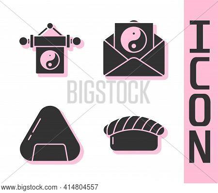 Set Sushi, Yin Yang, Sushi And Yin Yang And Envelope Icon. Vector