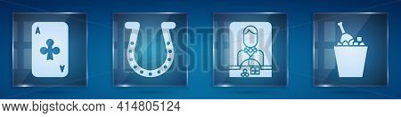 Set Playing Card With Clubs, Horseshoe, Casino Dealer And Champagne In An Ice Bucket. Square Glass P