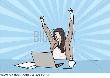 Business Success, Celebrating Win, Positive Emotions Concept. Smiling Happy Business Woman Sitting I