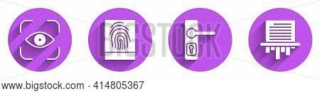 Set Eye Scan, Fingerprint, Door Handle And Paper Shredder Icon With Long Shadow. Vector