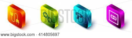 Set Isometric Electric Plug, Hexagonal Metal Nut, Electric Drill Machine And Electrical Outlet Icon.