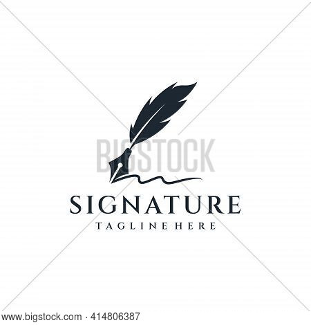 Feather Silhouette Ink Logo Design Vector Inspiration. Logo Can Be Used For Icon, Brand, Identity, W