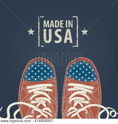 Vector Banner With The Words Made In Usa And Red Sneakers With Stars Like The American Flag On A Blu