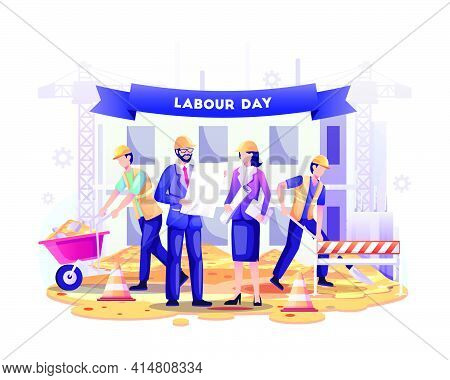 Happy Labour Day. Construction Workers Are Working On Building In Labour Day On 1 May. Vector Illust